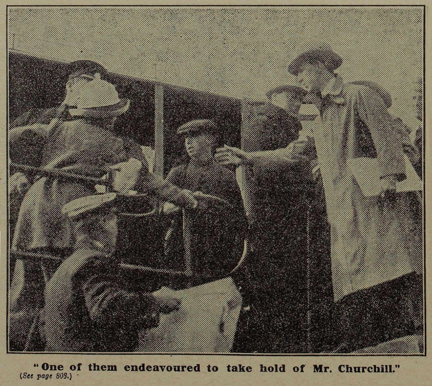 Printed photo of woman approaching Winston Churchill during an official visit, Aberdeen 1912