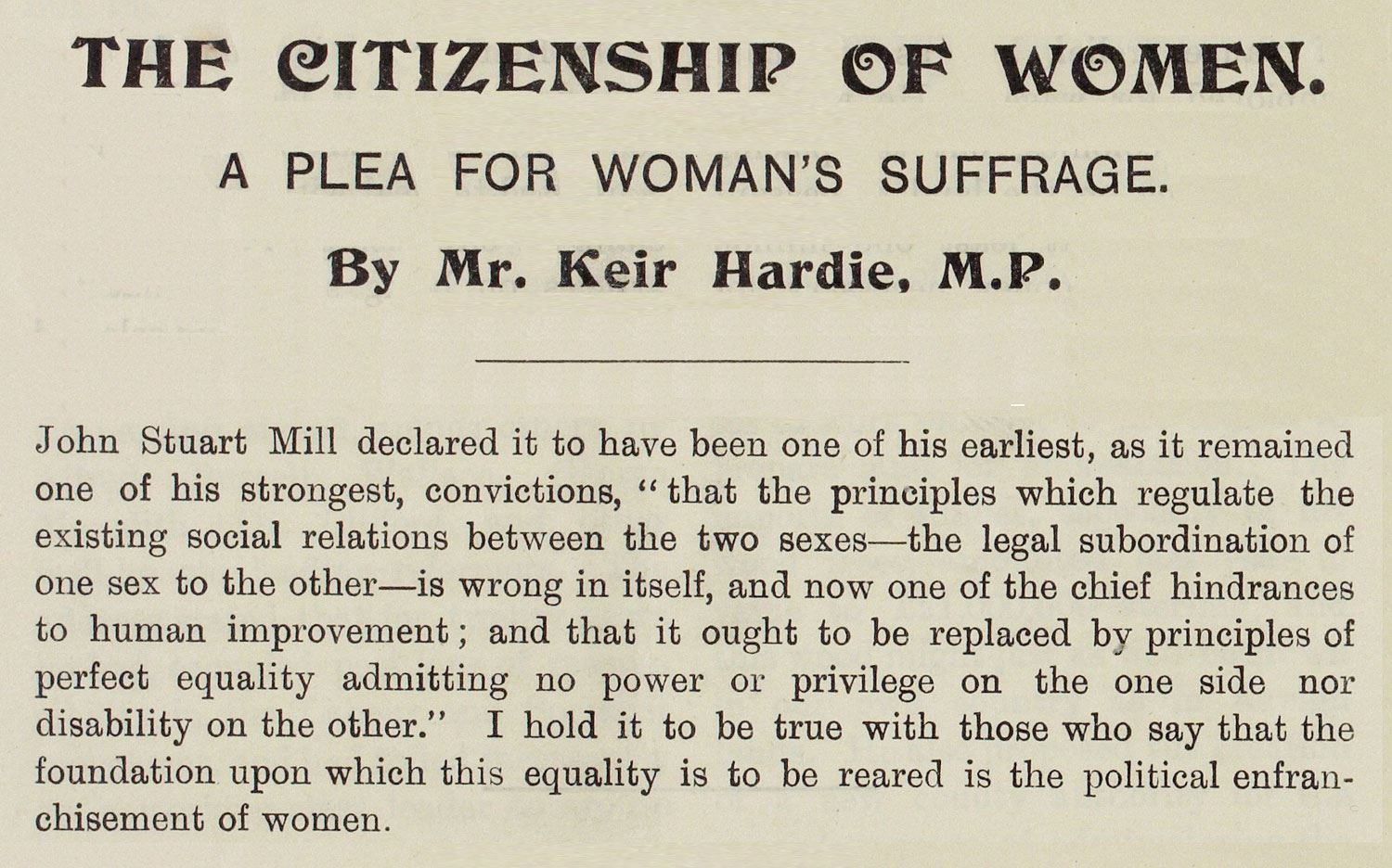 Extract from pamphlet written by Keir Hardie