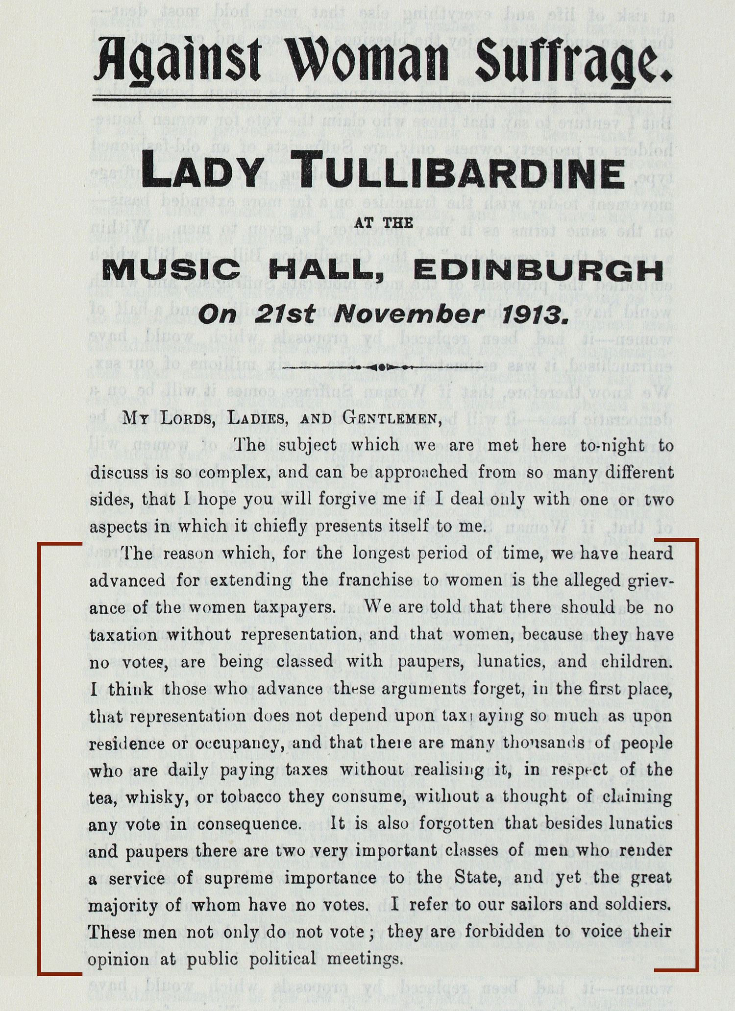 Printed account of speech given by Lady Tullibardine, 1913