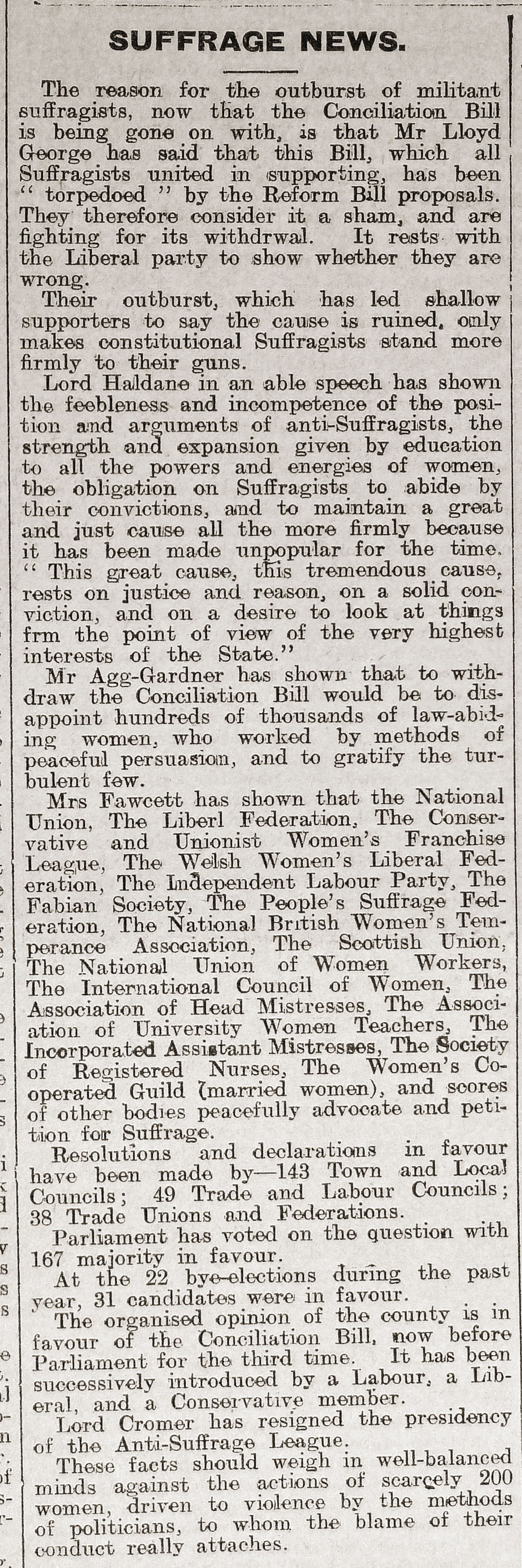 Pro-suffrage newspaper article, 'Shetland News', 23 March 1912